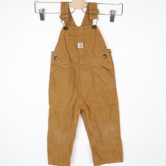 2b573996 Carhartt Bottoms   Toddler Khaki Canvas Bib Overalls 2t Boys   Poshmark